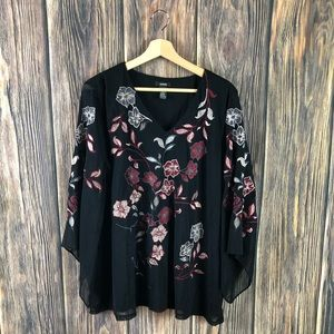 Alfani XL blouse floral embroidered boho black